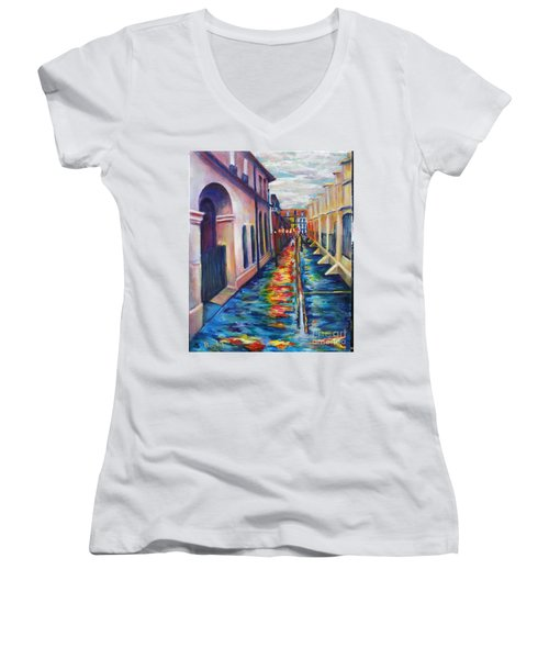 Rainy Pirate Alley Women's V-Neck (Athletic Fit)