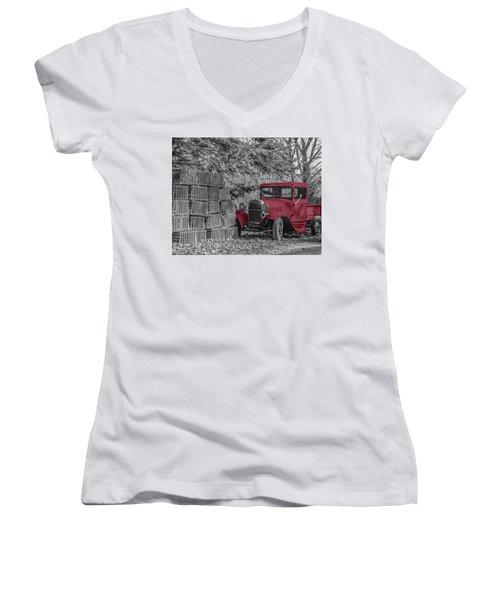 Red Truck Women's V-Neck