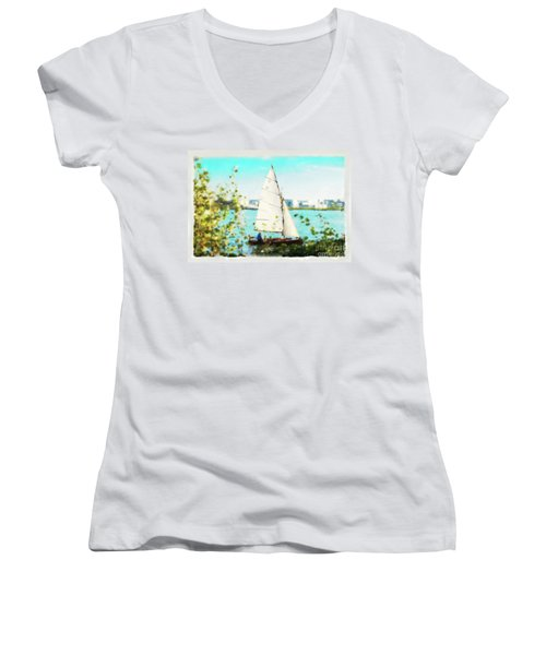 Sailboat On The River Watercolor Women's V-Neck