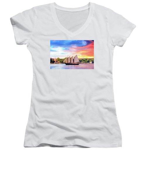 Sails In The Wind At Sunset On The York River Women's V-Neck