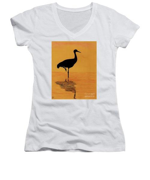 Sandhill - Crane - Sunset Women's V-Neck