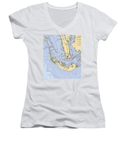 Sanibel And Captiva Islands Nautical Chart Women's V-Neck