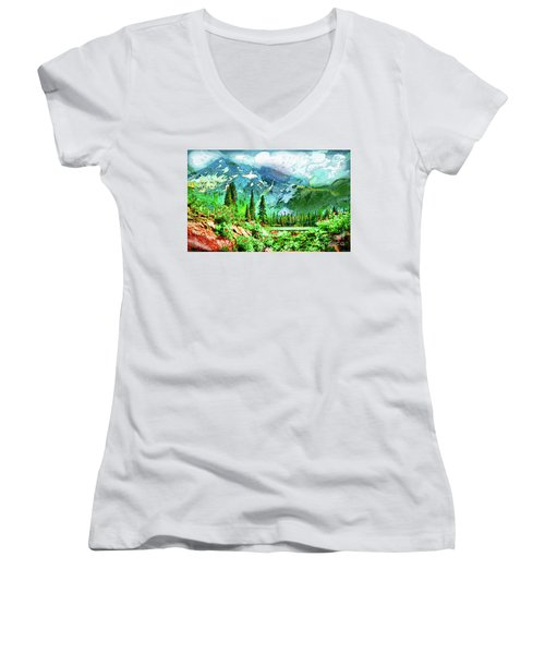 Scenic Mountain Lake Women's V-Neck