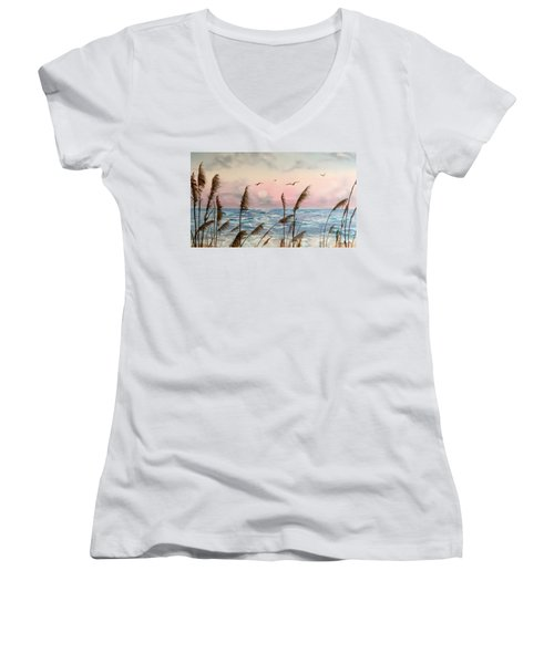 Sea Oats And Seagulls  Women's V-Neck