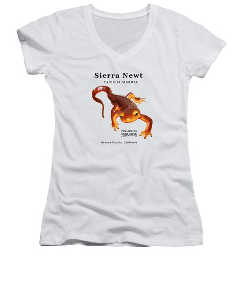 Sierra Newt - Black Text Women's V-Neck