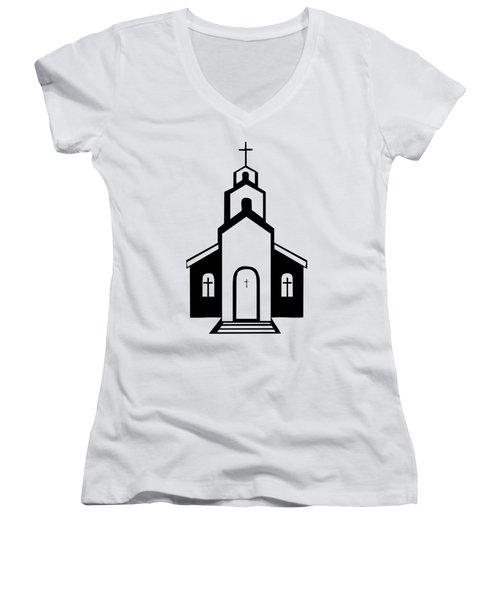 Silhouette Of A Christian Church Women's V-Neck