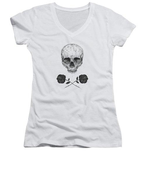 Skull N' Roses Women's V-Neck (Athletic Fit)