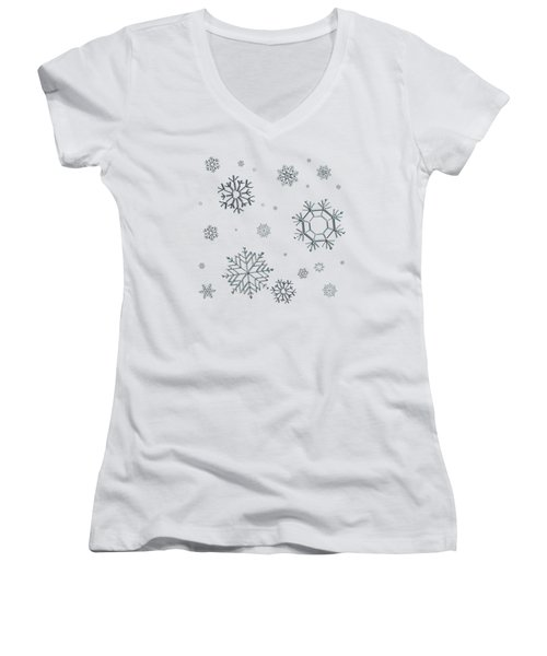 Snowflakes On Blue Women's V-Neck