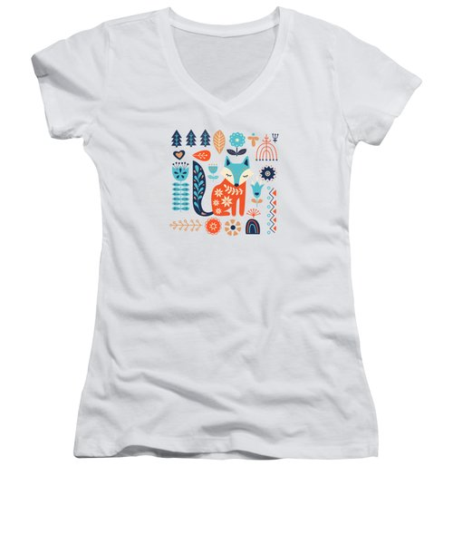 Soft And Sweet Scandinavian Fox Folk Art Women's V-Neck