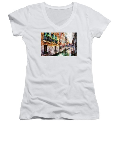 People On Bridge Over Canal In Venice, Italy - Watercolor Painting Effect Women's V-Neck