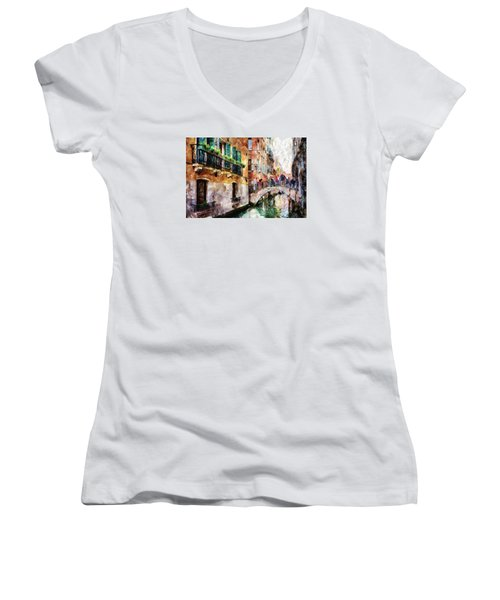 Women's V-Neck featuring the digital art Stories In The Air by Eduardo Jose Accorinti