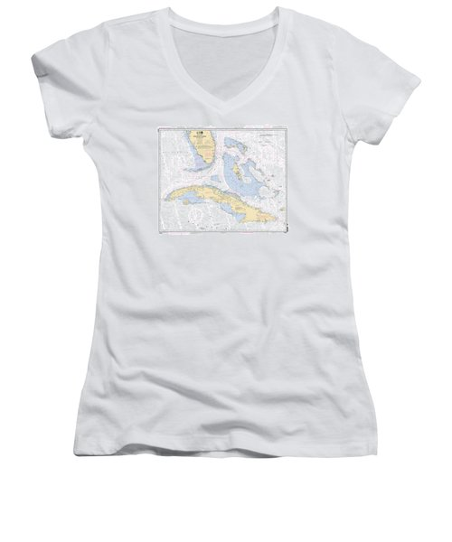 Straits Of Florida Nautical Chart 11013 Women's V-Neck