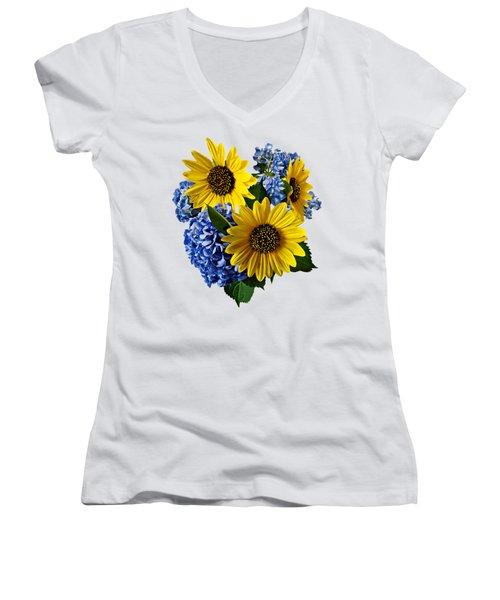 Sunflowers And Hydrangeas Women's V-Neck