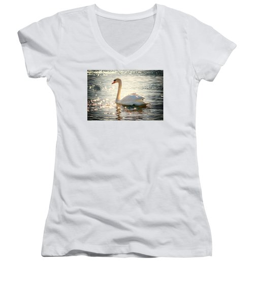 Swan On Golden Waters Women's V-Neck