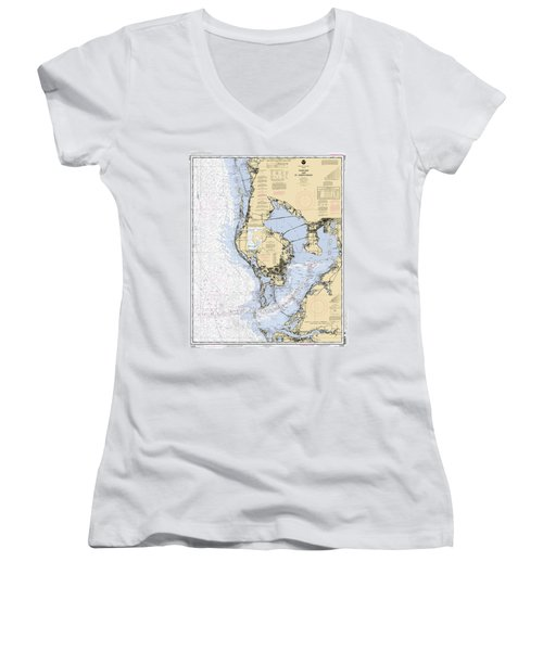 Tampa Bay And St. Joseph Sound Noaa Chart 11412 Women's V-Neck