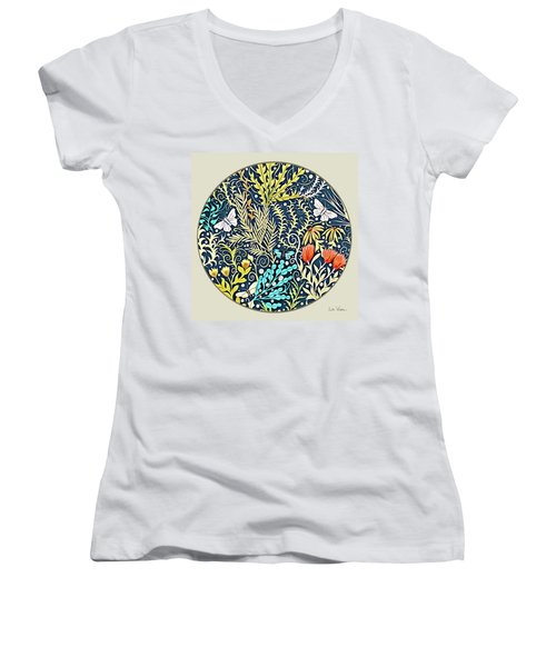 Tapestry Design Button Women's V-Neck