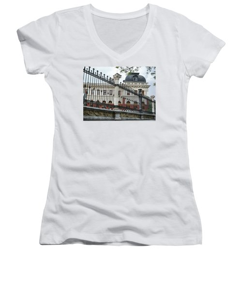Women's V-Neck featuring the photograph The Back Of The Ministry Of Agriculture Building In Madrid by Eduardo Jose Accorinti