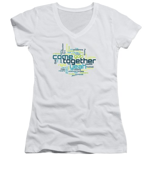 The Beatles - Come Together Lyrical Cloud Women's V-Neck