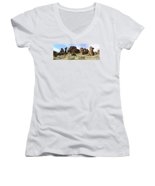 Arches Hoodoos And Castles The Big Picture Little City Of Rocks Women's V-Neck