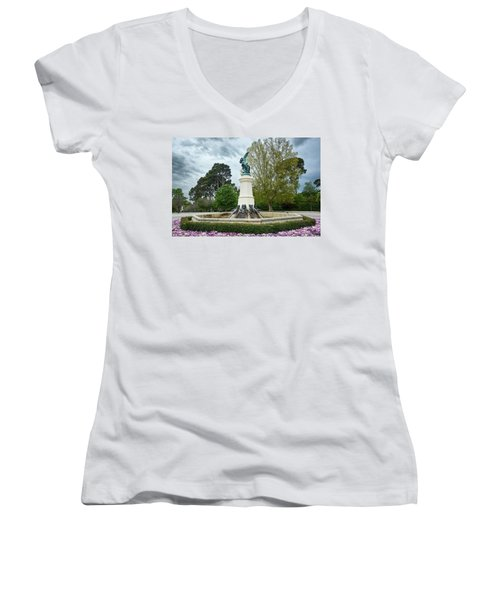The Fountain Of The Fallen Angel In Madrid Women's V-Neck
