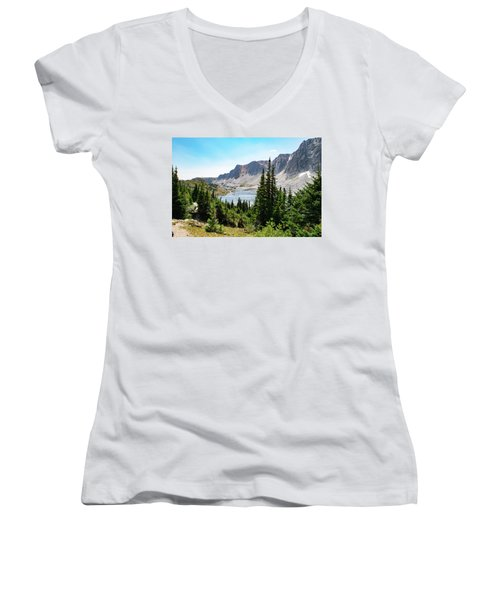 The Lakes Of Medicine Bow Peak Women's V-Neck
