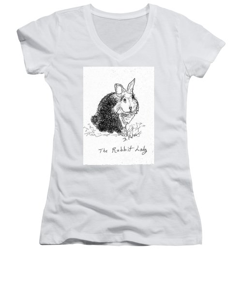 The Rabbit Lady Drawing Women's V-Neck
