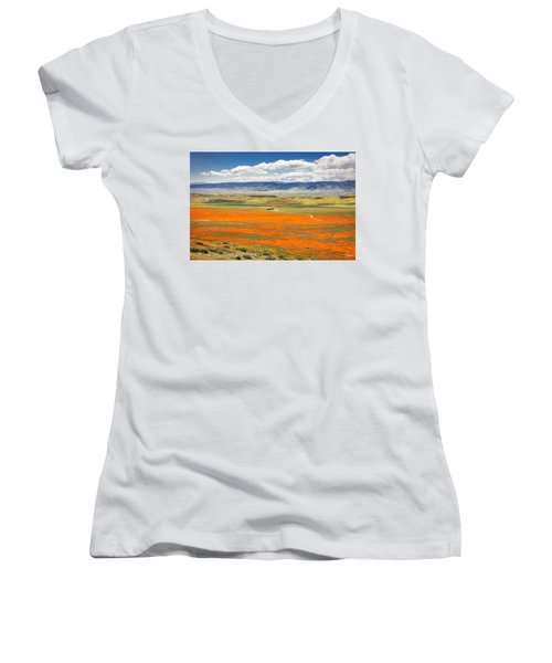 The Road Through The Poppies 2 Women's V-Neck