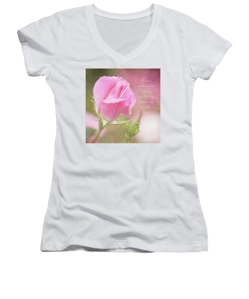 The Rose Speaks Of Love Photograph Women's V-Neck
