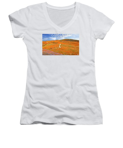 The Trail Through The Poppies Women's V-Neck