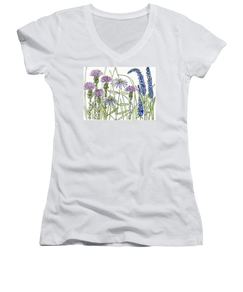 Thistle Asters Blue Flower Watercolor Wildflower Women's V-Neck