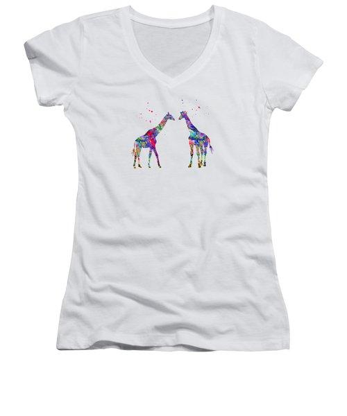 Two Giraffes-colorful Women's V-Neck
