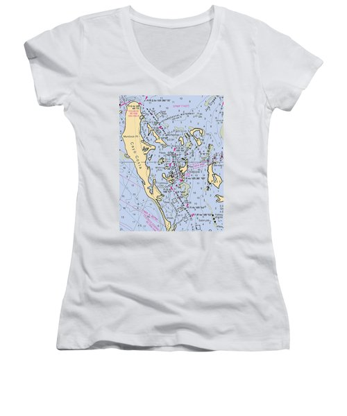 Useppa,cabbage Key,cayo Costa Nautical Chart Women's V-Neck