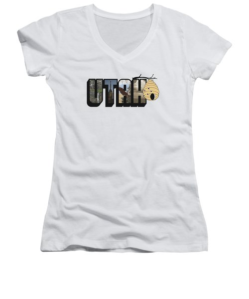 Utah The Beehive State Big Letter Women's V-Neck