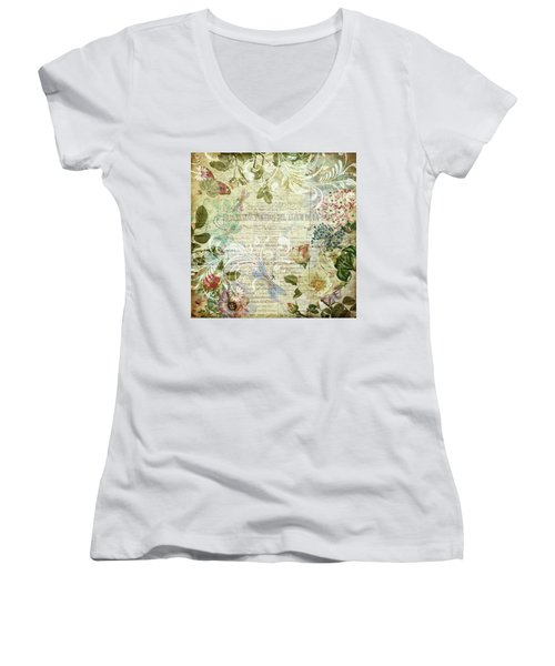 Vintage Botanical Illustration Collage Women's V-Neck