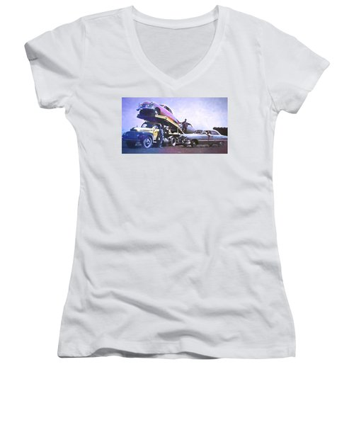 Vintage Ford Car Carrier Women's V-Neck