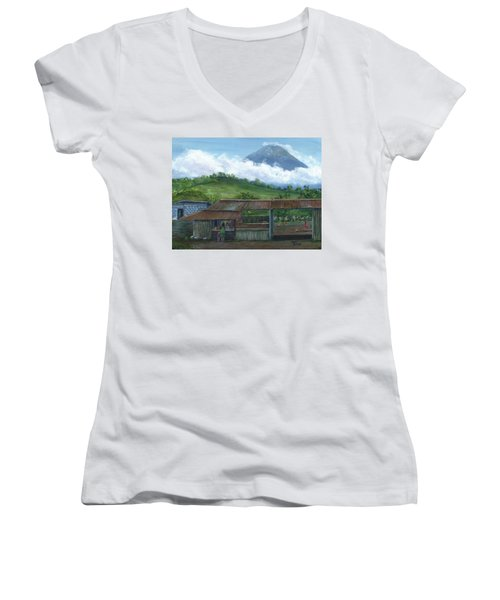 Volcano Agua, Guatemala, With Fruit Stand Women's V-Neck