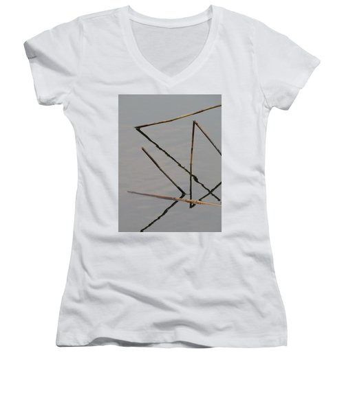 Women's V-Neck featuring the photograph Water Construction by Attila Meszlenyi
