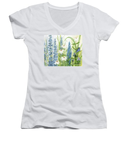 Watercolor Blue Flowers Women's V-Neck