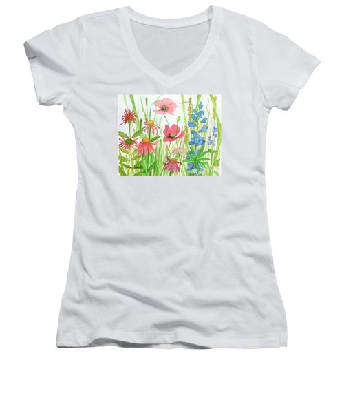 Watercolor Touch Of Blue Flowers Women's V-Neck