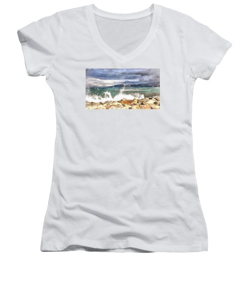 Women's V-Neck featuring the painting Waves At Work by Harry Warrick