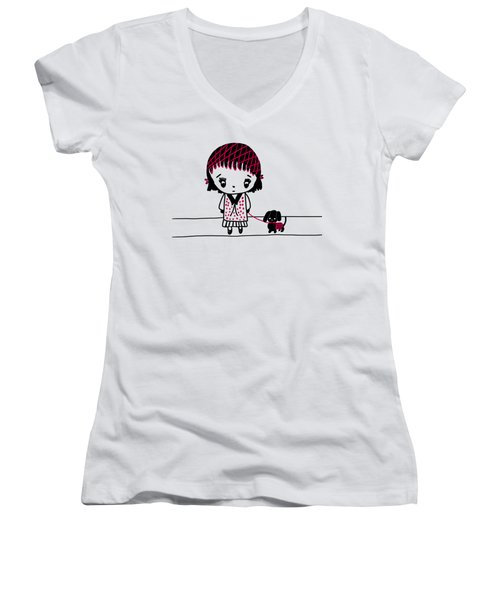 Whimsy Girl And Dog In Black And Red Women's V-Neck