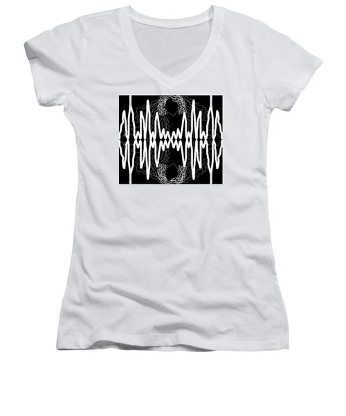 White And Black Frequency Mirror Women's V-Neck