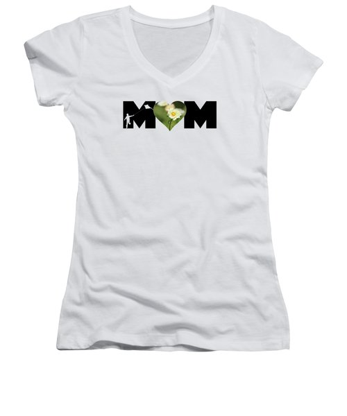 White Cosmos In Heart With Little Boy Mom Big Letter Women's V-Neck
