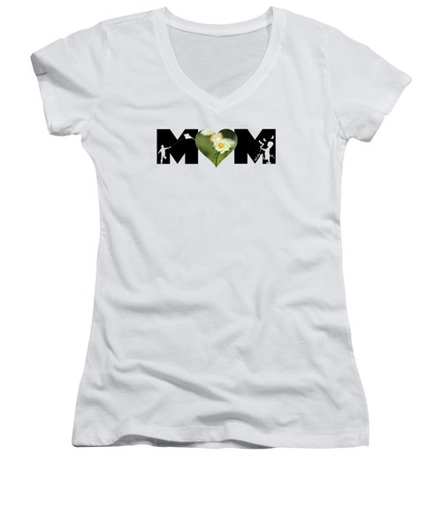 White Cosmos In Heart With Little Girl And Boy Mom Big Letter Women's V-Neck