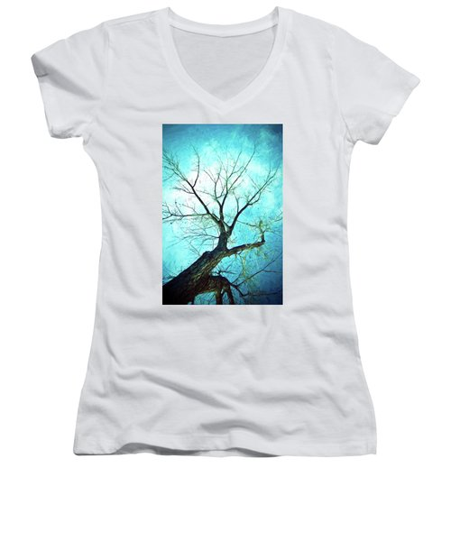 Women's V-Neck featuring the photograph Winter Tree Blue  by James BO Insogna