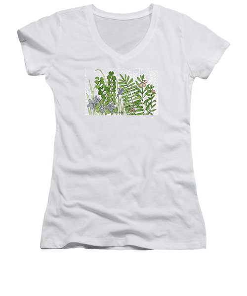 Woodland Ferns Violets Nature Illustration Women's V-Neck