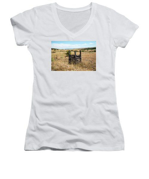 Yellow Grass And Fence Anchor Women's V-Neck