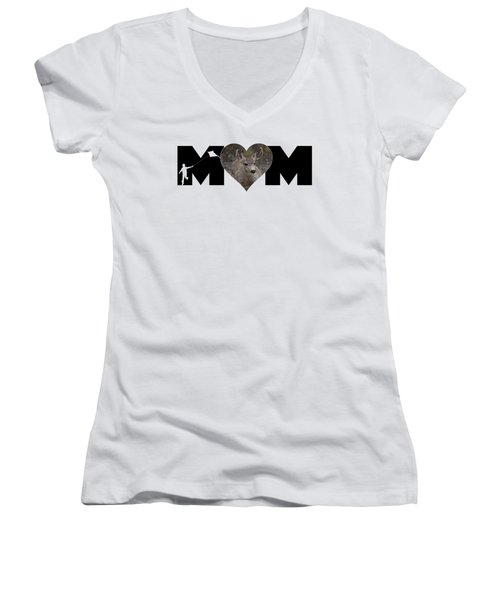 Young Doe In Heart With Little Boy Mom Big Letter Women's V-Neck