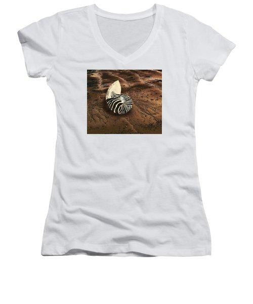 Zebra Nautilus Shell On The Sand Women's V-Neck