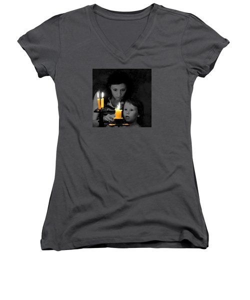 Women's V-Neck T-Shirt (Junior Cut) featuring the photograph .  .  Light For Peace  .  . by I'ina Van Lawick